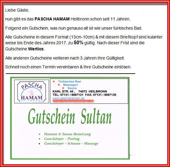 Pascha Hamam Gutscheine